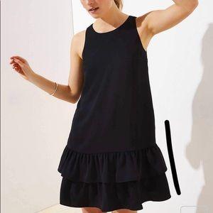 Back cutout ruffle hem dress